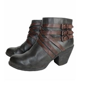 Sofft Leather Bootie Strappy Western Wood Heel 7.5